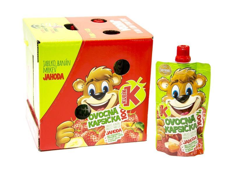 Kubík 100% Ovocná kapsička banán, mrkva, jablko a jahoda 100g