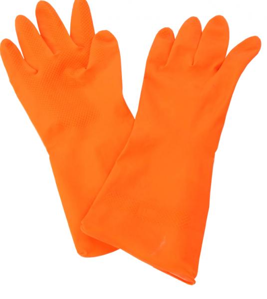 Rukavice gumené L, oranžové, 1 pár