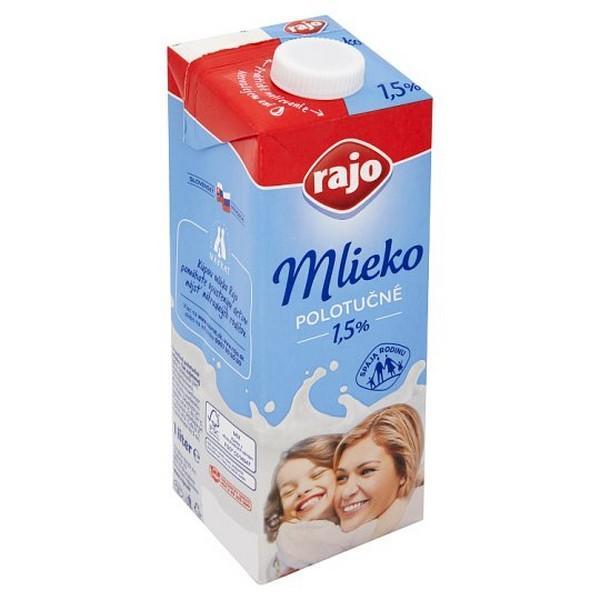 Mlieko Rajo 1l polotučné 1,5%